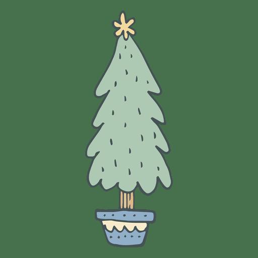 Christmas Tree Hand Drawn Cartoon Icon