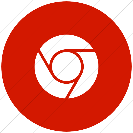 Flat Circle White On Red Raphael Chrome Icon