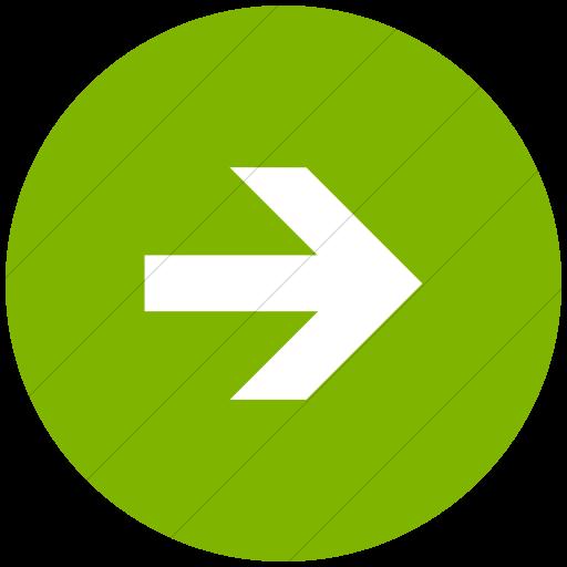 Flat Circle White On Green Aiga Right Arrow Icon