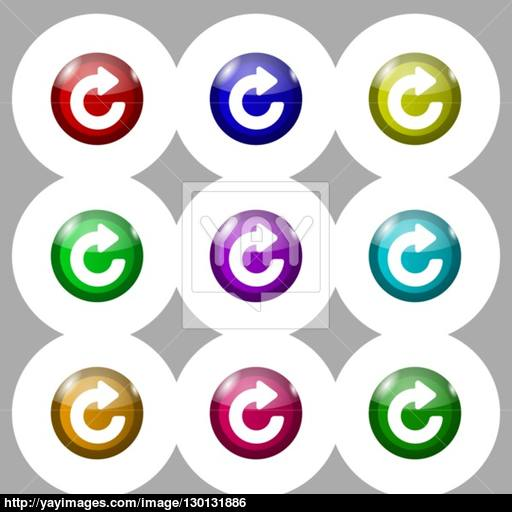 Upgrade, Arrow Icon Sign Symbol On Nine Round Colourful Buttons