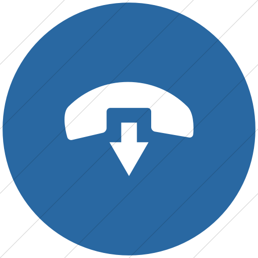 Flat Circle White On Blue Raphael Phone Hang Up Icon