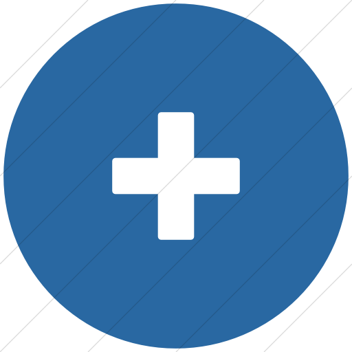 Flat Circle White On Blue Foundation Plus Icon