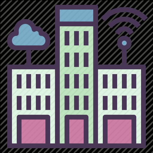 Buildings, Cities, Cloud, Internet, Modern, Smart Icon