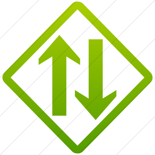 Simple Green Gradient Classica Two Way Traffic Clear Icon