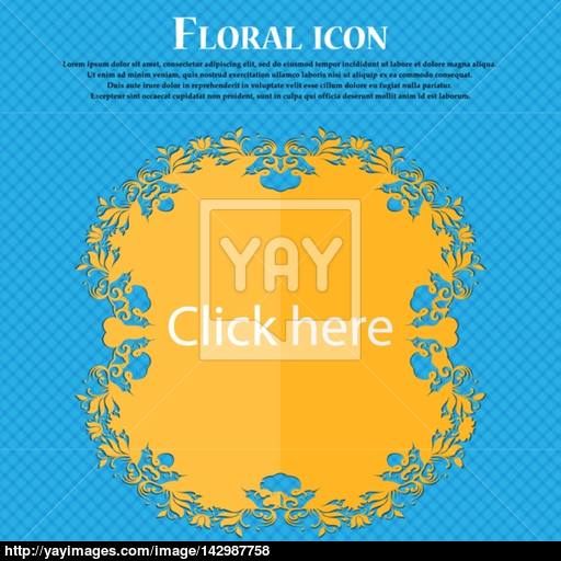 Click Here Sign Icon Press Button Floral Flat Design On A Blue