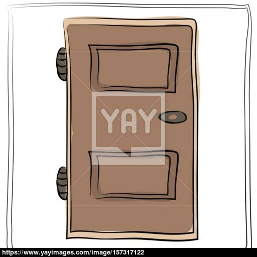 Old Door Icon, Isolated Illustration Vector Close Up Wooden Doo