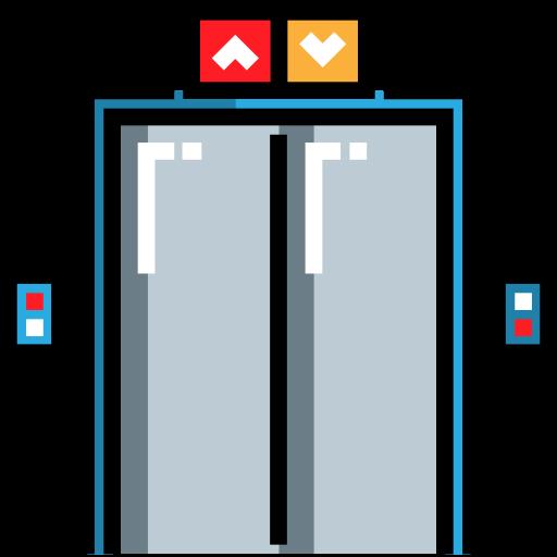 Filled, Buildings, Elevator, Part, Closed, Double, Building, Door