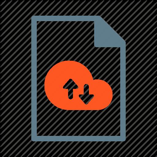 Arrow, Cloud, Document, File, Text Icon