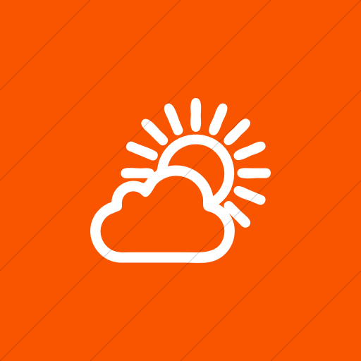 Flat Square White On Orange Raphael Sun Cloudy Icon