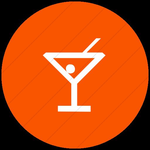 Flat Circle White On Orange Classica Cocktail Icon