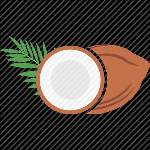 Broken Coconut, Coconut, Half Coconut Icon