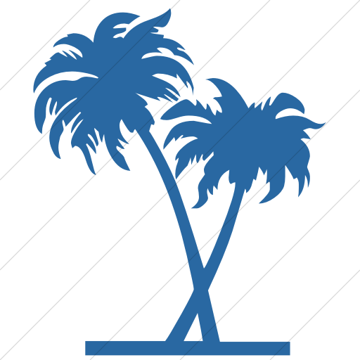 Simple Blue Classica Palm Trees Icon