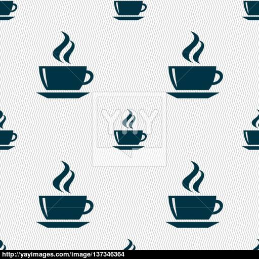 Tea, Coffee Icon Sign Seamless Pattern With Geometric Texture