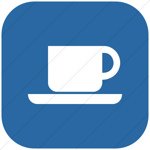 Flat Rounded Square White On Blue Aiga Coffee Shop Icon