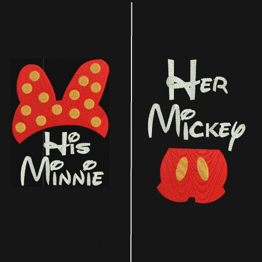 His Minnie Her Mickey Set Mickey Minnie Machine Embroidery Designs