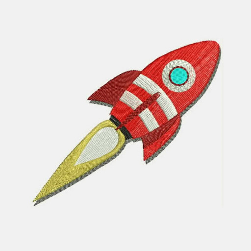 On The Moon And Beyond Cartoon Rocket Machine Embroidery Designs