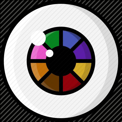 Color Wheel, Eye, Eyeball, Eyesight, Rainbow, Vision Icon