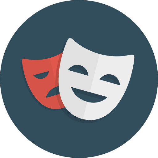 Comedy, Drama, Happy, Masks, Sad, Theatre Icon