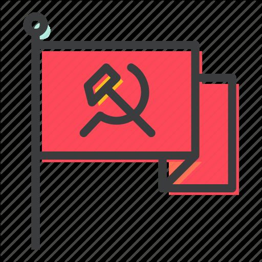 Communism, Communist, Flag, Labor, Labour, Waving, Work Icon