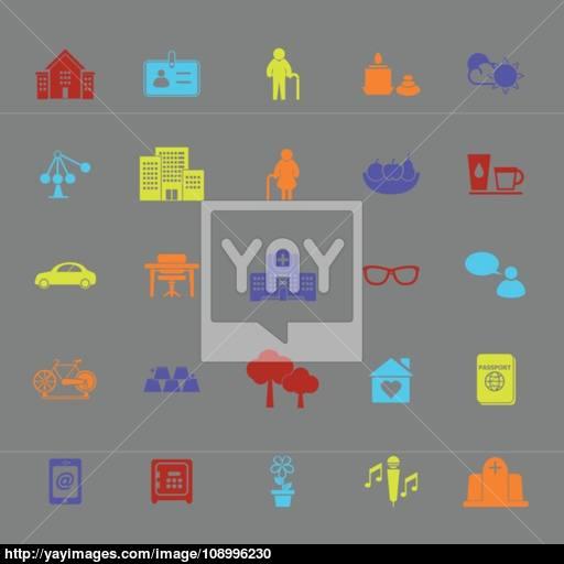 Retirement Community Color Icons Vector