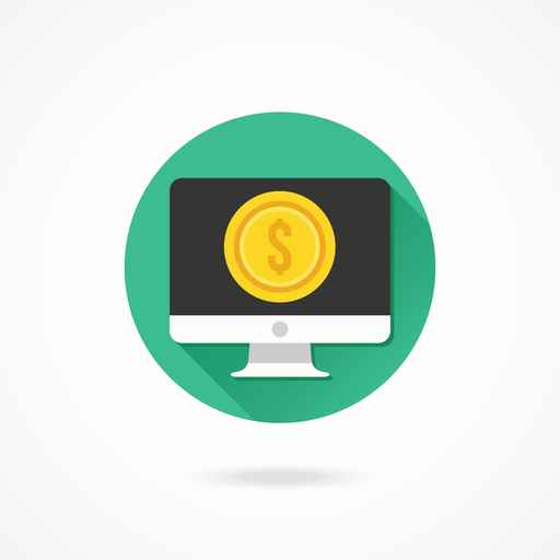 Vector Computer Display And Gold Coin Dollar Icon
