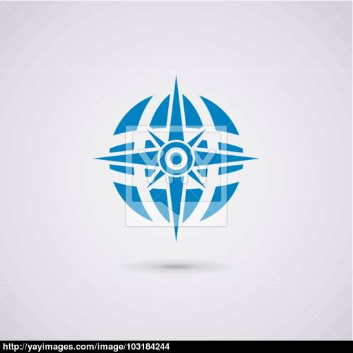 Vector Icon Design Of Compass And Earth Globe Vector