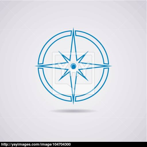 Vector Icon Of Earth Globe And Compass Vector
