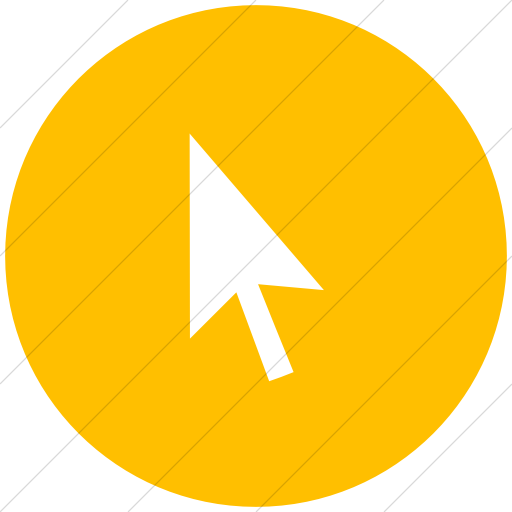 Flat Circle White On Yellow Classica Mouse Pointer Icon