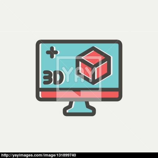 Computer Monitor With Box Thin Line Icon Vector