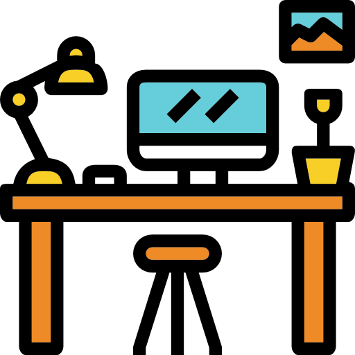 Workplace, Desktop, Workspace, Furniture, Computer, Table Icon