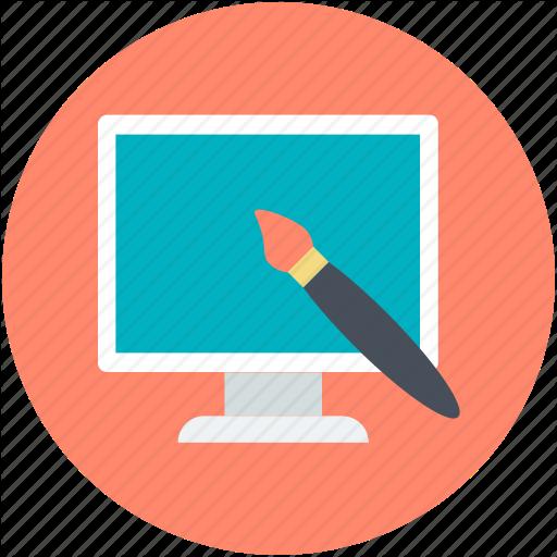 Computer Graphics, Screen Paintbrush, Web Design, Web Designing Icon