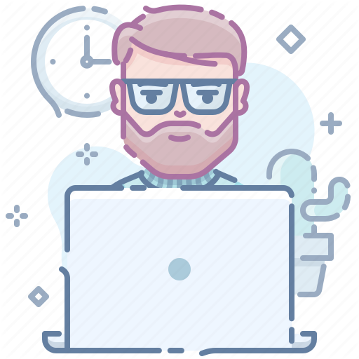 Beard, Computer, Guy, Laptop, Man, Workplace, Workspace Icon