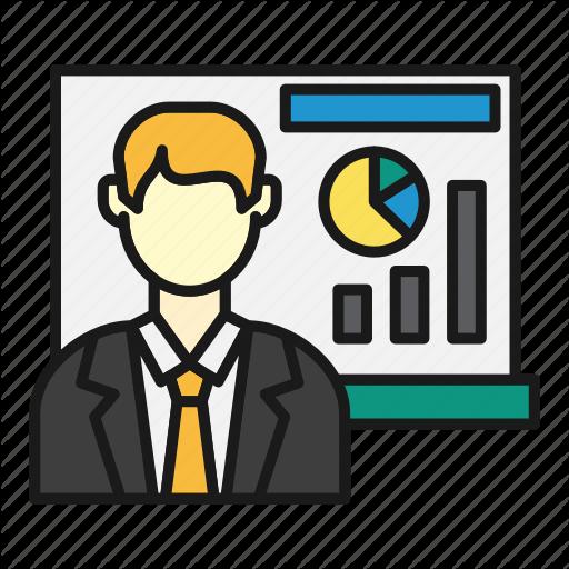 Board, Graph, Guy, Presentation, Sales Icon