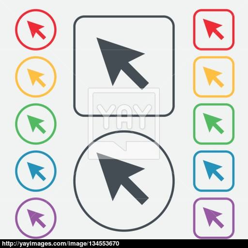 Arrow Cursor, Computer Mouse Icon Sign Symbol On The Round