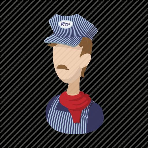 Cartoon, Conductor, Man, Person, Railroad, Train, Transportation Icon