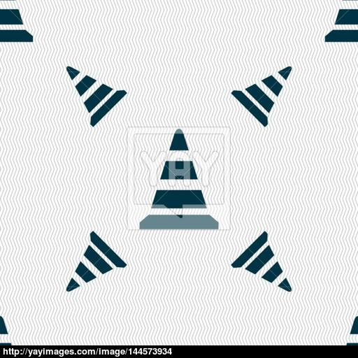 Road Cone Icon Seamless Pattern With Geometric Texture Vector