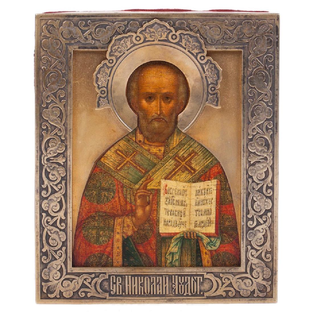 Russian Art Nouveau Icon Of Saint Nikolay Wonderworker