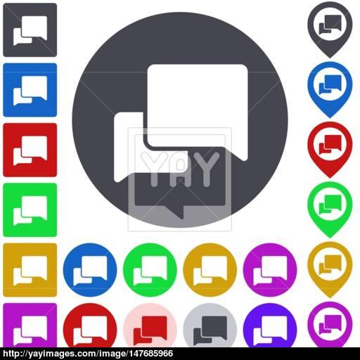 Color Conversation Icon Set Vector