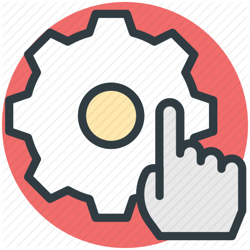 Engineering, Finger Touch, Gear, Hand Pointing, Mechanism Icon