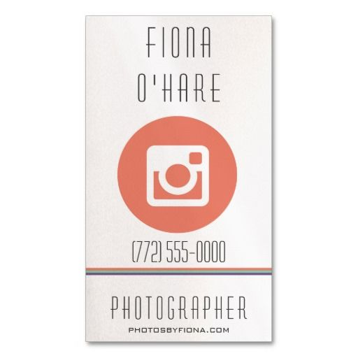 Modern Coral Icon Photographer Business Card Stuff Sold