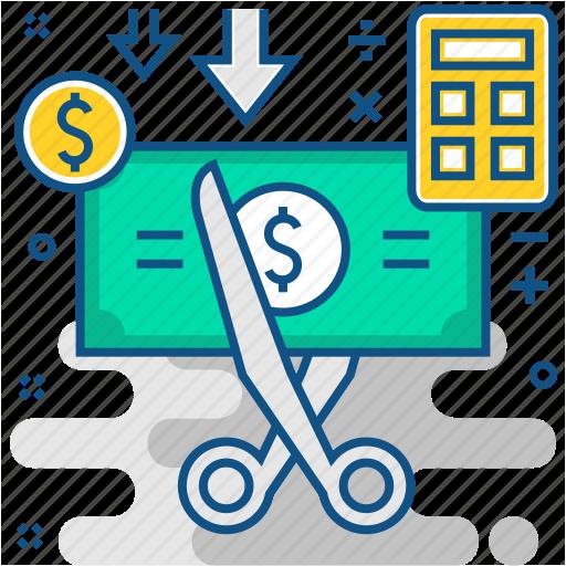 Budget, Cost Cutting, Cut, Cutback, Cutting, Rate, Saving Icon