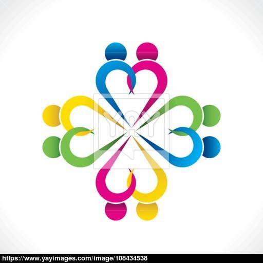 Creative Heart Shape Couple Icon Design Vector