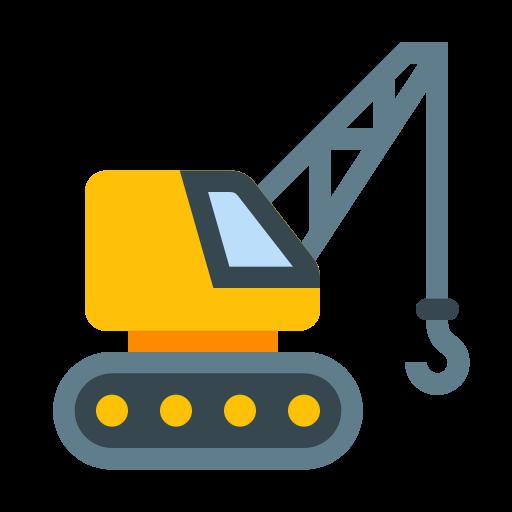 Mobile Crane Icon Quot Flat Design Factory And Mobile Crane Icon