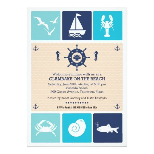 Summer Clambake Nautical Beach Icons Party Invitation Summer