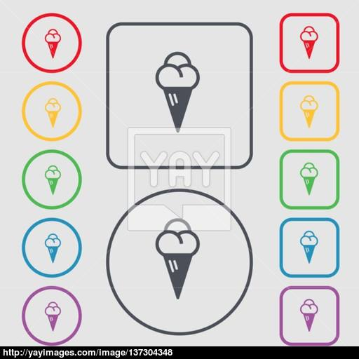 Ice Cream Icon Sign Symbol On The Round And Square Buttons