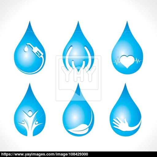 Creative Icon In Water Drop Like Save Water, Natural, Healthy