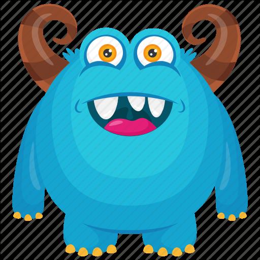 Blue Monster, Halloween Monster, Haunted Monster, Horned Monster
