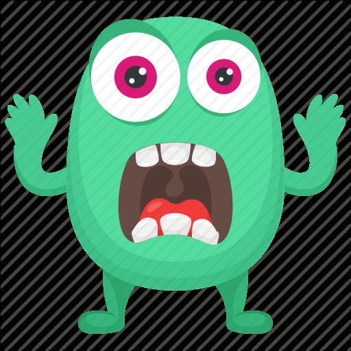 Cartoon Monster, Frightening Monster, Fuzzy Green Monster, Green
