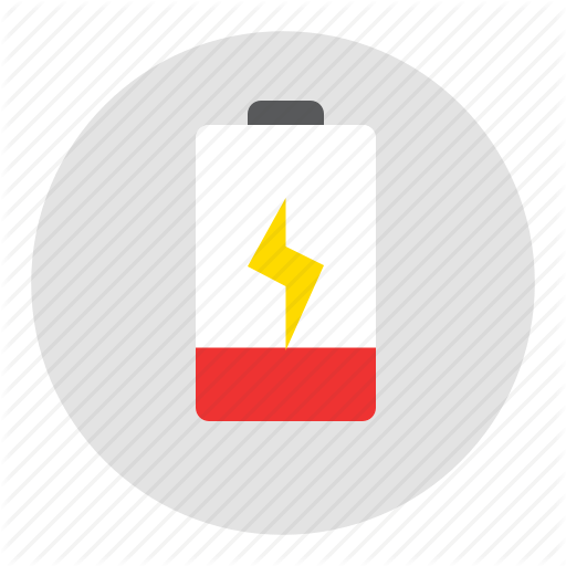 Battery, Critical, Red Icon