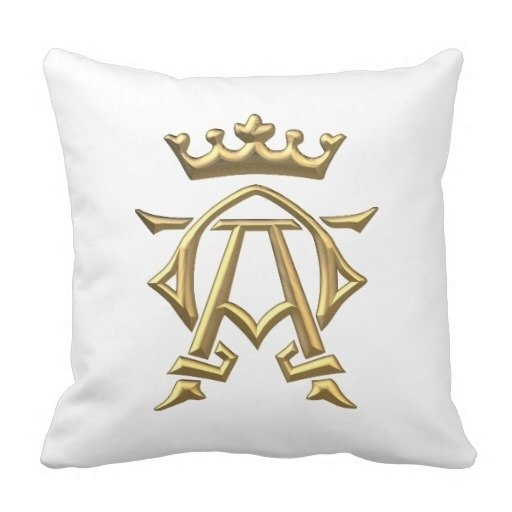 American Pillow Cover Golden D Alpha And Omega W Crown Symbol